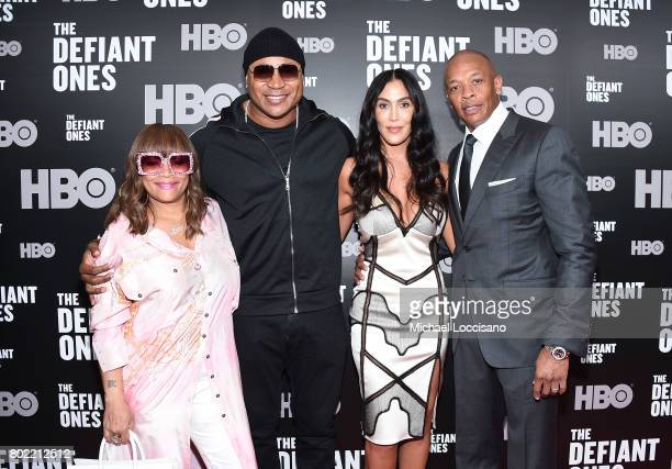 Simone Smith LL Cool J Nicole Youg and Dr Dre attend 'The Defiant Ones' premiere at Time Warner Center on June 27 2017 in New York City