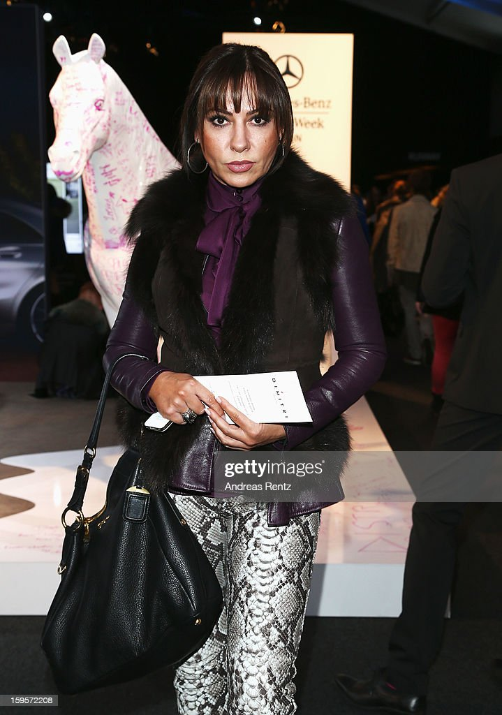 Simone Thomalla attends Dimitri Autumn/Winter 2013/14 fashion show during Mercedes-Benz Fashion Week Berlin at Brandenburg Gate on January 16, 2013 in Berlin, Germany.