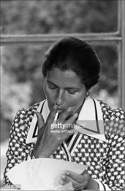 Simone Veil and Jacques Chirac press conference at Hotel Matignon The Veil law legalizing abortion unleashed emotional debate in Paris France on June...
