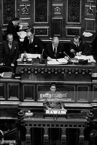 Simone Veil at Abortion law project adopted by the Senate in Paris France on December 15th 1974