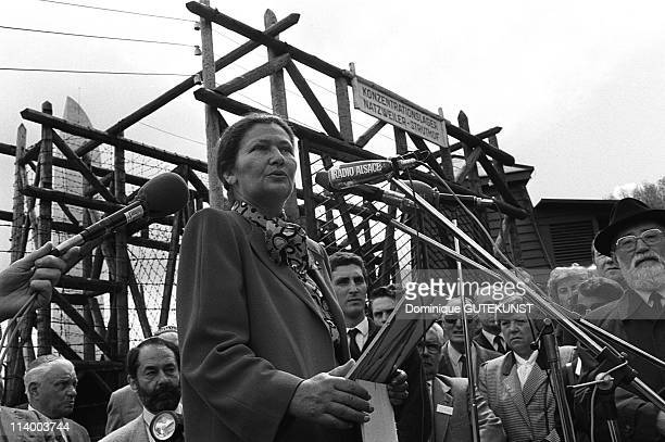 Simone Veil at the NatzweilerStruthof camp In Struthof France On May 19 1985Simone Veil
