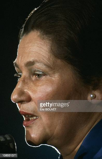 Simone Veil during a Press Conference in Paris France on March 23rd 1984