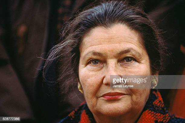 Simone Veil French Minister of Social Affairs at a protest against world poverty