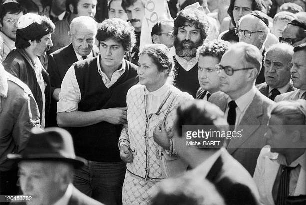 Simone Veil in Paris France on October 04 1980 Simone VEIL and his son Demonstration after the bombing of the synagogue Copernic Street Religious...