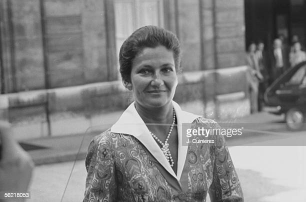 Simone Veil leaving the Elysee palace Paris about 1975