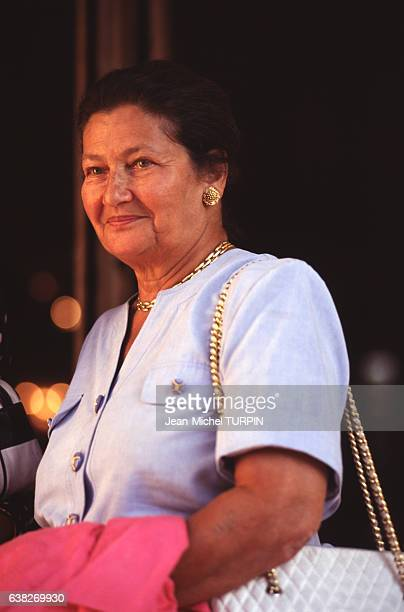 Simone Veil lors d'une réunion politique de l'UDF le 8 septembre 1996 à La Baule France