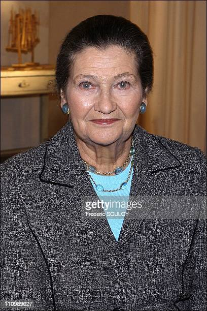 Simone Veil on the set of tv show ' Les Maternelles' in Paris France on January 23rd 2007