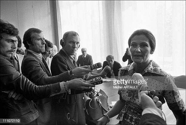 Simone Veil press conference in Lyon France on September 11 1974