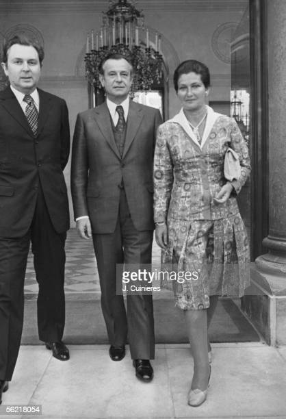 Simone Veil with Jean Lecanuet and Michel d'Ornano leaving the Elysee palace Paris about 1975