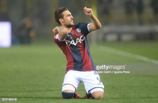 Simone Verdi of Bologna FC celebrates after scoring the opening goal during the Serie A match between Bologna FC and FC Crotone at Stadio Renato...