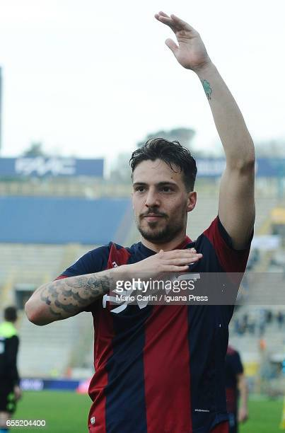 Simone Verdi of Bologna FC celebrates at the end of the Serie A match between Bologna FC and AC ChievoVerona at Stadio Renato Dall'Ara on March 19...