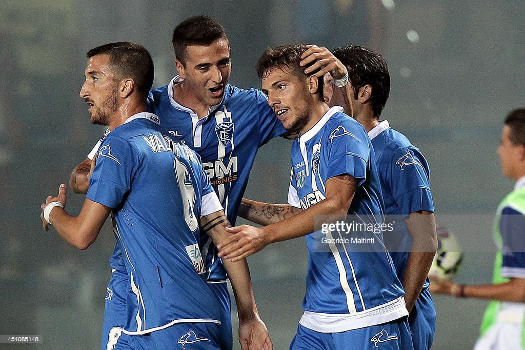 Simone Verdi (R) of Empoli FC celebrates after scoring a goal during the TIM Cup match between Empoli FC and L'Aquila Calcio at Stadio Carlo Castellani on August 24, 2014 in Empoli, Italy.