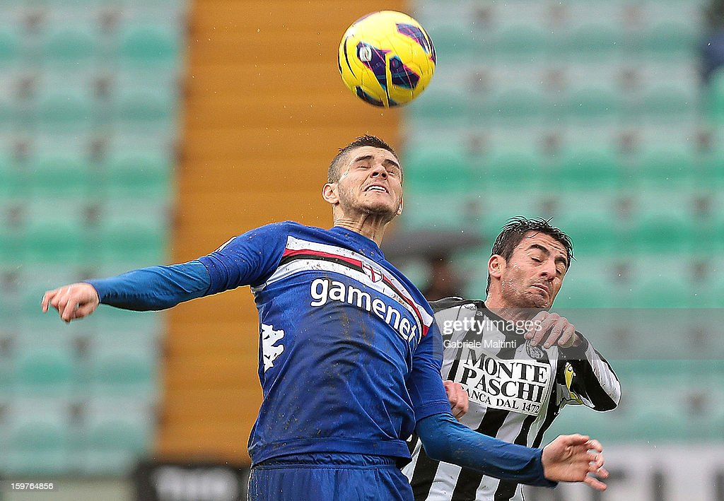 Simone Vergassola (R) of AC Siena fights for the ball with Mauro Emanuel Icardi of UC Sampdoria during the Serie A match between AC Siena and UC Sampdoria at Stadio Artemio Franchi on January 20, 2013 in Siena, Italy.