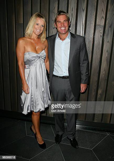 Simone Warne and Shane Warne attend the opening party of the Crown Metropol hotel on April 21 2010 in Melbourne Australia