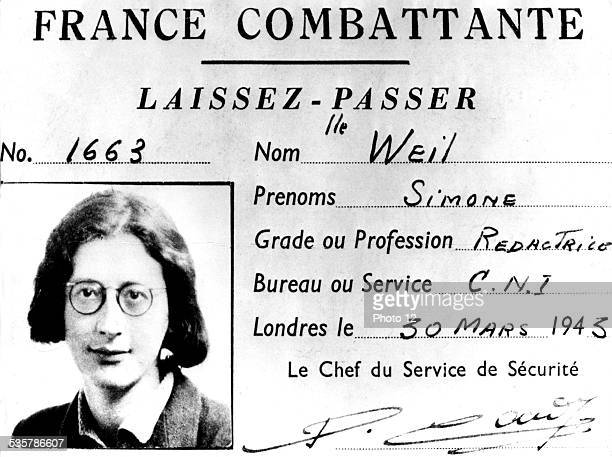 Simone Weil's pass when she used to work for the French resistance England World War II Private collection