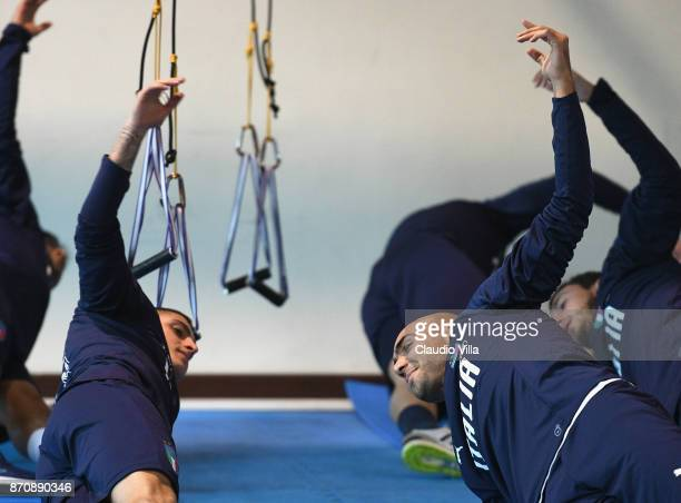 Simone Zaza and Marco Verratti of Italy in action during a training session at Italy club's training ground at Coverciano on November 6 2017 in...