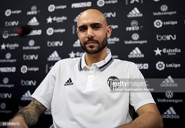 Simone Zaza faces the media during his presentation as a new player for Valencia CF at Paterna Training Centre on January 16 2017 in Valencia Spain