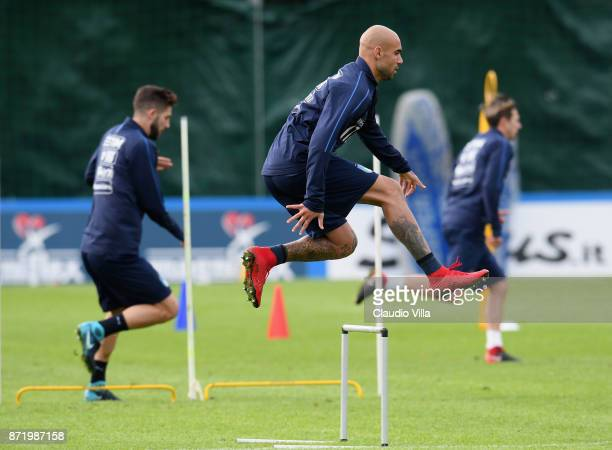 Simone Zaza in action during the training session at Italy club's training ground at Coverciano on November 9 2017 in Florence Italy