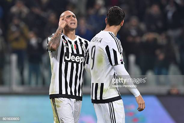 Simone Zaza of FC Juventus celebrates after scoring the opening goal during the TIM Cup match between FC Juventus and Torino FC at Juventus Arena on...