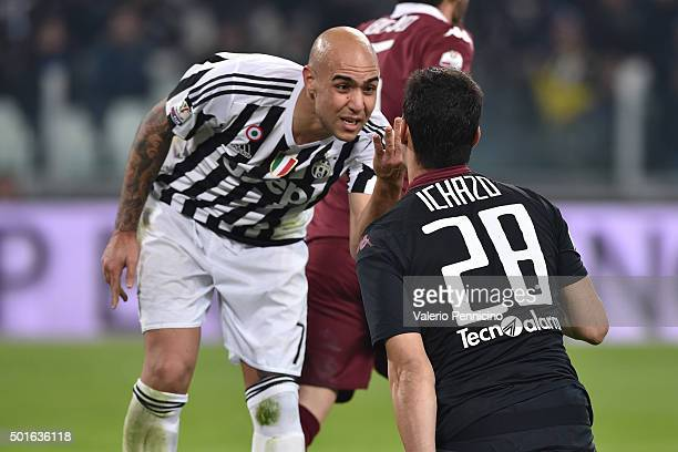 Simone Zaza of FC Juventus mocks Salvador Ichazo of Torino FC during the TIM Cup match between FC Juventus and Torino FC at Juventus Arena on...