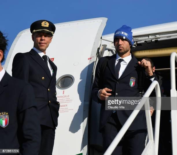 Simone Zaza of Italy arrives at Malpensa airport on November 11 2017 in Milan Italy