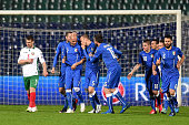 Simone Zaza of Italy celebrates after scoring the first goal during the Euro 2016 Qualifier match between Bulgaria and Italy at Vasil Levski National...
