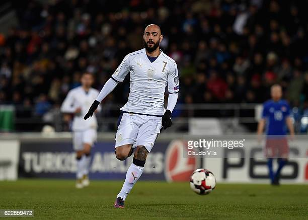 Simone Zaza of Italy in action during the FIFA World Cup 2018 group G Qualifiers football match beetween Liechtenstein and Italy at the Rheinpark...