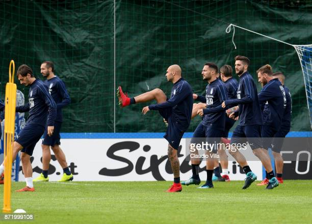 Simone Zaza of Italy in action during the training session at Italy club's training ground at Coverciano on November 9 2017 in Florence Italy