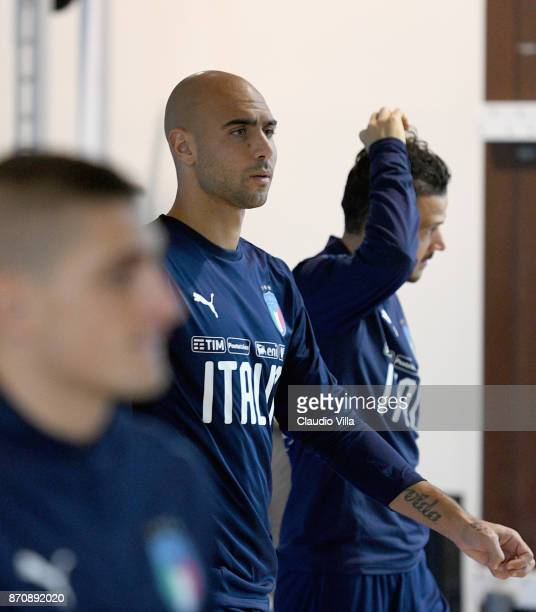 Simone Zaza of Italy looks on during a training session at Italy club's training ground at Coverciano on November 6 2017 in Florence Italy