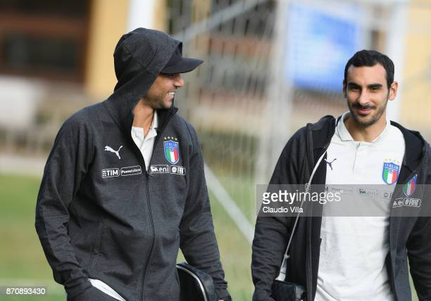 Simone Zaza of Italy looks on prior to the training session at Italy club's training ground at Coverciano on November 6 2017 in Florence Italy