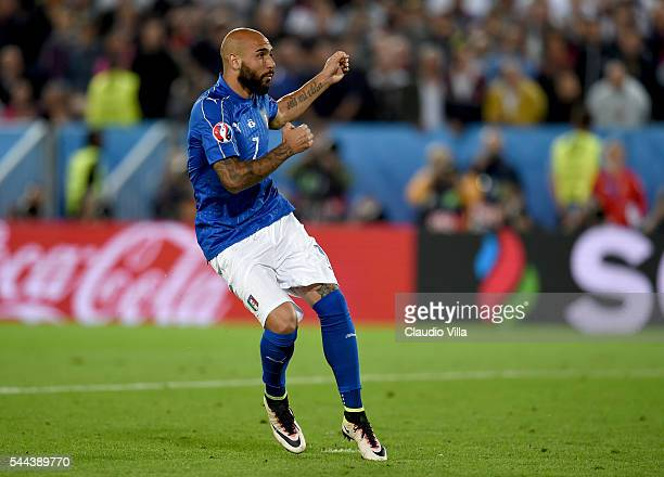 Simone Zaza of Italy misses during the penalty shoot out following the UEFA Euro 2016 Quarter Final match between Germany and Italy at Stade Matmut...