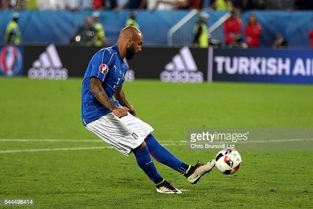 Simone Zaza of Italy misses during the penalty shoot out following the UEFA Euro 2016 Quarter Final match between Germany and Italy at Nouveau Stade...