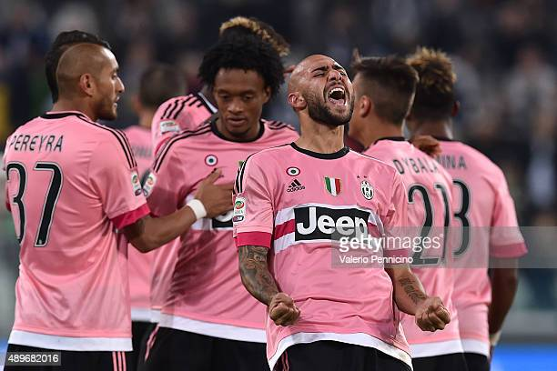 Simone Zaza of Juventus FC celebrates after scring the opening goal during the Serie A match between Juventus FC and Frosinone Calcio at Juventus...