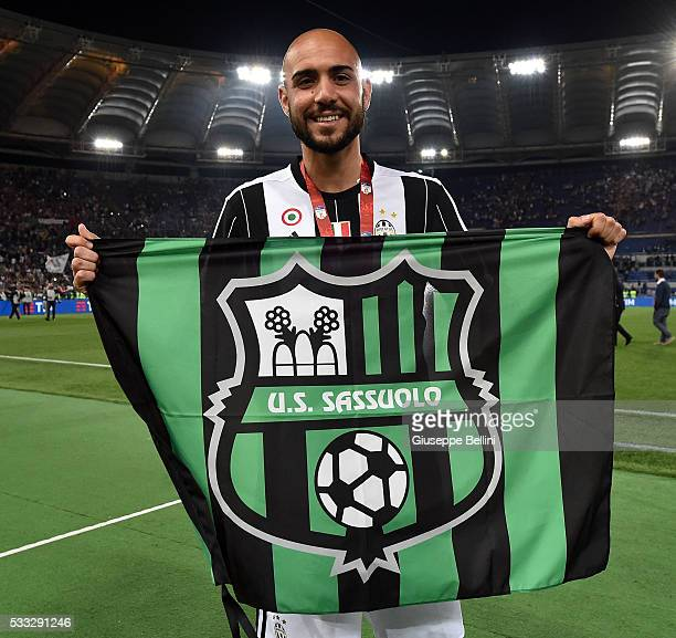 Simone Zaza of Juventus FC celebrates the victory after the TIM Cup match between AC Milan and Juventus FC at Stadio Olimpico on May 21 2016 in Rome...