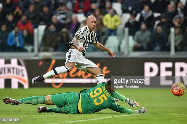 Simone Zaza of Juventus FC scores a goal during the Serie A match between Juventus FC and Hellas Verona FC at Juventus Arena on January 6 2016 in...