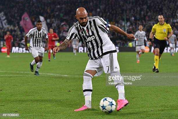 Simone Zaza of Juventus kicks the ball during the UEFA Champions League group E match between Juventus and Sevilla FC on September 30 2015 in Turin...