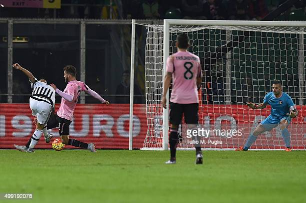 Simone Zaza of Juventus scores his team's third goal during the Serie A match between US Citta di Palermo and Juventus FC at Stadio Renzo Barbera on...
