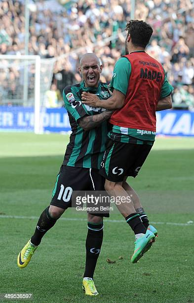 Simone Zaza of Sassuolo celebrate their victory after the Serie A match between US Sassuolo Calcio and Genoa CFC at Mapei Stadium on May 11 2014 in...