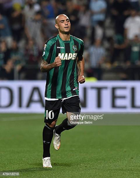 Simone Zaza of Sassuolo celebrates after scoring the goal 20 during the Serie A match between US Sassuolo Calcio and Genoa CFC at Mapei Stadium on...