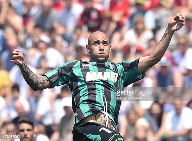Simone Zaza of Sassuolo in action during the Serie A match between US Sassuolo Calcio and AC Milan on May 17 2015 in Reggio nell'Emilia Italy