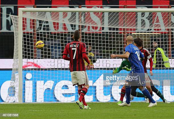 Simone Zaza of Sassuolo scores his team's second goal during the Serie A match between AC Milan and US Sassuolo Calcio at Stadio Giuseppe Meazza on...