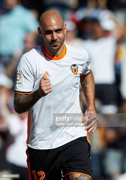 Simone Zaza of Valencia celebrates after scoring the third goal during the La Liga match between Valencia CF and CA Osasuna at Mestalla Stadium on...