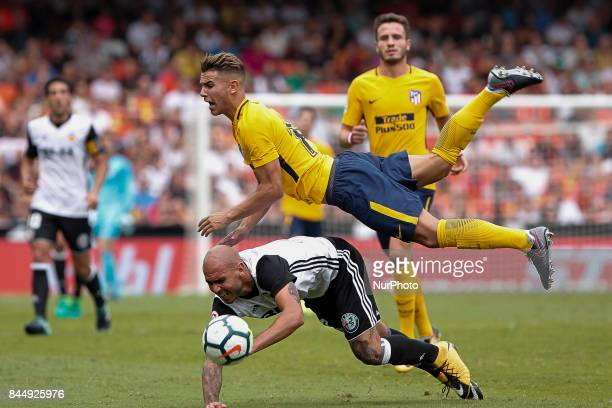 09 Simone Zaza of Valencia CF and 19 Lucas Hernandez of Atletico de Madrid during spanish La Liga match between Valencia CF vs Atletico de Madrid at...