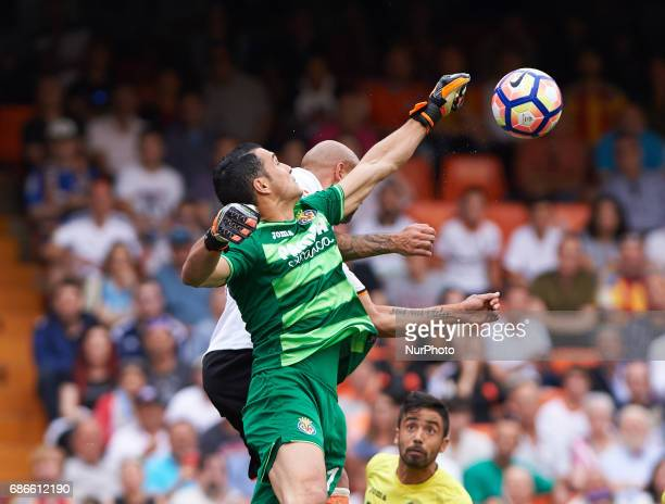Simone Zaza of Valencia CF and Andres Fernandez of Villarreal CF during their La Liga match between Valencia CF and Villarreal CF at the Mestalla...