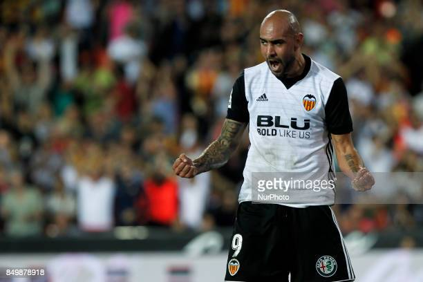 09 Simone Zaza of Valencia CF celebrate after scoring the 30 goal during spanish La Liga match between Valencia CF vs Malaga CF at Mestalla Stadium...