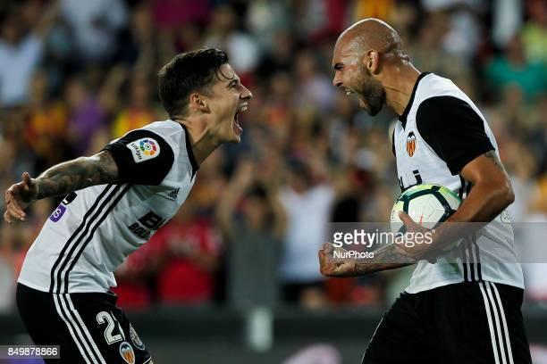 09 Simone Zaza of Valencia CF celebrate after scoring the 40 goal with his teammate 22 Santi Mina of Valencia CF during spanish La Liga match between...