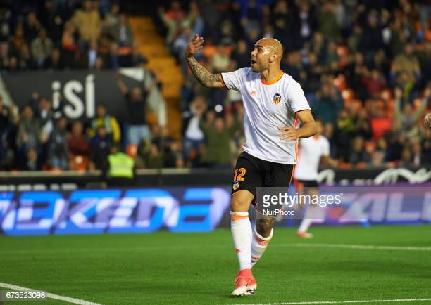 Simone Zaza of Valencia CF celebrates after scoring a goal during their La Liga match between Valencia CF and Real Sociedad at the Mestalla Stadium...