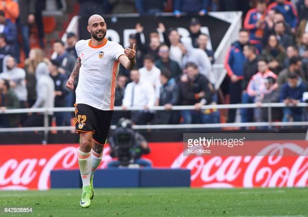 Simone Zaza of Valencia CF celebrates his goal during their La Liga match between Valencia CF and Athletic Club de Bilbao at the Estadio de Mestalla...
