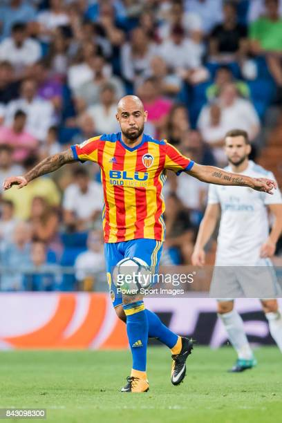 Simone Zaza of Valencia CF in action during their La Liga 201718 match between Real Madrid and Valencia CF at the Estadio Santiago Bernabeu on 27...