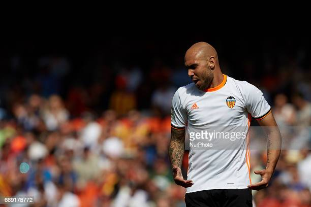 Simone Zaza of Valencia CF reacts during the La Liga match between Valencia CF and Sevilla FC at Mestalla stadium on April 16 2017 in Valencia Spain